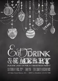 Christmas Invitations, Printable Holiday Party Invites, Digital Winter Xmas  Ornaments Invite, DIY Silver Chalkboard Eat Drink and be Merry