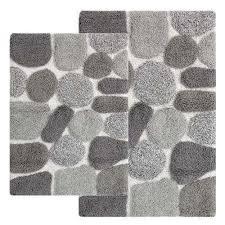 2 piece bath rug set in grey