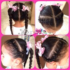 Little Girl Hair Style two braids and two ponytails hair style for little girls my 2392 by wearticles.com
