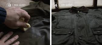 using an old cloth or sponge work the melted wax well into the jacket paying particular attention to seams creases and dry patches