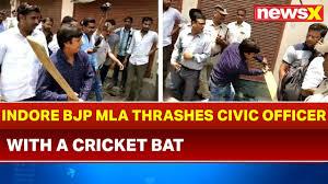 Indore Bjp Mla Akash Vijayvargiya Beats Civic Officer With Cricket