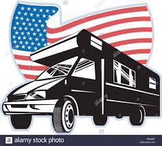 Camper Van Graphics Design Graphic Design Illustration Of A Camper Van With American
