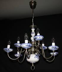 vintage ceramic chandelier flemish ceiling light with 9 lights over 2 tiers and blue white ceramic and cups