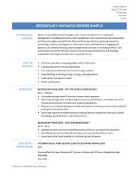 Restaurant Manager Resume Sample Haadyaooverbayresort Com