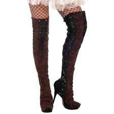 brown steampunk costume faux leather thigh high boot tops