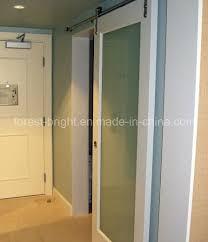 marriott hotel white painted laminated glass sliding barn door style for bathroom entry door