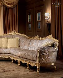 Italian Furniture Living Room Salon With Carved Furniture Decorated With Gold Leaf Applications