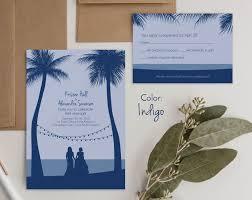 Beach Invitation Tropical Wedding Invitations With Custom Figures Wild Blue Weddings