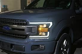 2018 F150 Led Lights Details About 2018 2019 Ford F150 F 150 Led Tube Polished Black Projector Headlights Pair