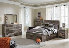 Ashley Furniture Derekson Storage Bedroom Set with Under Bed Storage in Multi Grey