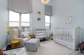 ... Simple light blue backdrop gives the nursery a tranquil look [Design:  Hudson Place Realty