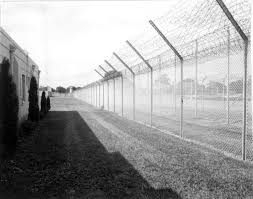 Florida Memory View showing barbed wire fence and part of prison