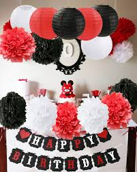 Amazoncom Furuix Mickey Mouse Birthday Party Decorations White Red