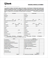 Personal Financial Statement Blank Forms Blank Personal Financial Statement Template Personal Financial