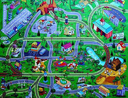 large my town play mat with airport town train tracks and roads wooden toys for