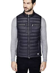 black gilet with headphones included guess coats jackets m73l07w8st0