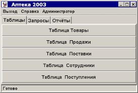 Курсовые работы Интерфейс java приложения Аптека 2003