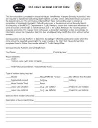 Csa Crime Incident Report Form