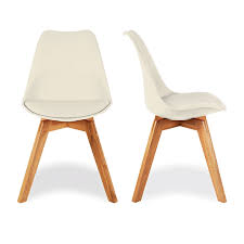 charles eames style cream dining chairs with solid oak crossed wood leg base