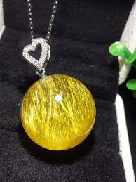 whole natural gold rutilated quartz crystal 21mm titanium pendant sphere ball women man necklace pendant jewelry aaaaa certificate number pendant