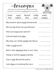 FREE Printable Antonym Worksheet   School - Language Arts ...