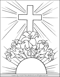Catholic Easter Colouring Pages To Print With Easter Lily Coloring