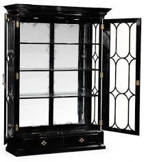 large black painted glass door display cabinet 56