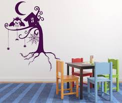 Animal Wall Stickers Fairy Story Tree Forest Spider Web Owl Night Moon Wall  Decals Kids Room Bedroom Art Decor Mural Decal ZA978-in Wall Stickers from  Home ...