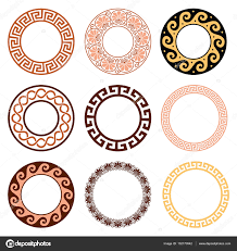 греческие узоры древний греческий круглый узор бесшовные набор
