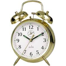 saxon wind up twin bell alarm clock 16cm
