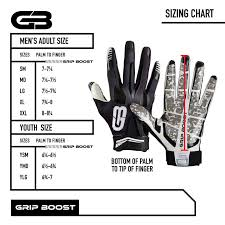 Gap Gloves Size Chart Football Gloves Mens 1 Grip In Football Grip Boost Stealth Football Gloves Pro Elite Adult Sizes 34 95