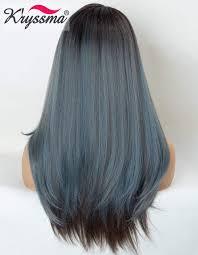 Amazoncom Kryssma Ombre Blue Lace Front Wig Mixed Color Dark