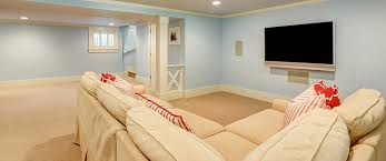 basement remodel. Basement Remodel Concept With Couch And Wall Mounted Tv