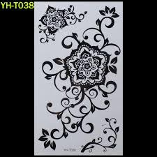 оптово большой цветок окрашенный боди арт стикер браслет татуировки черная