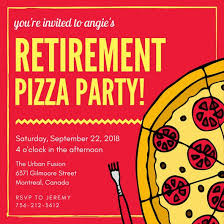 Pizza Party Invitation Templates Pizza Retirement Party Invitation Templates By Canva