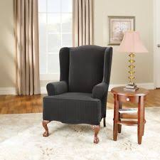 item 2 sure fit stretch pinstripe wing chair slipcover sure fit stretch pinstripe wing chair slipcover