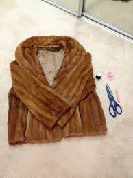 fur coat into fur vest coat to vest vintage fur coat diy