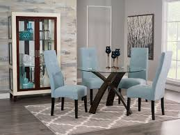 skye piece dining package with sadie dining chairs – light blue