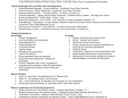 Resume Music Theatre Resume Example New Format And Cv Samples Classical Music 89