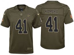 Kamara Alvin Olive Salute Jersey Game Orleans Saints - New Service Youth To