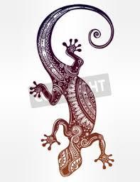 Fototapeta Ozdobený Gecko Ještěrka V Tetování Stylu Izolované Vektorové