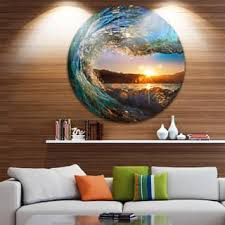 designart colored ocean waves falling down modern seashore disc metal  on golf wall art canada with shop metal art discover our best deals at overstock