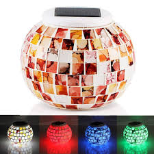 Solar Powered Mosaic Glass Garden Lights Lafeina Color