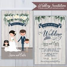 blended family wedding invitations ilrated wedding invitations rustic invitation set flower chandelier invite