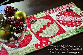 merry and bright ornament table runner