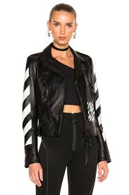 image 1 of off white diagonal sleeve leather biker jacket in black white