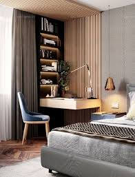 modern bedroom with study desk at the corner