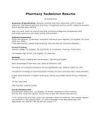 Resume Examples Templates Pharmacy Technician Resume Examples