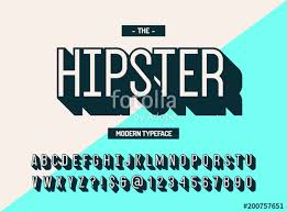 Hipster Modern Typeface 3d Style Cool Font Alphabet Trend