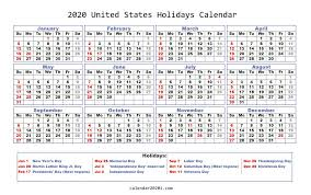 Printable Calendars 2020 With Holidays 2020 Holidays Calendar Printable Worldwide Calendar 2020